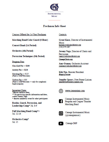 Freshman Info Sheet